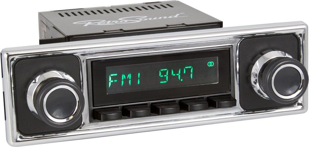 Retrosound 1955-65 Mercedes Benz 190 Long Beach Radio with Solid Black/Chrome Faceplate
