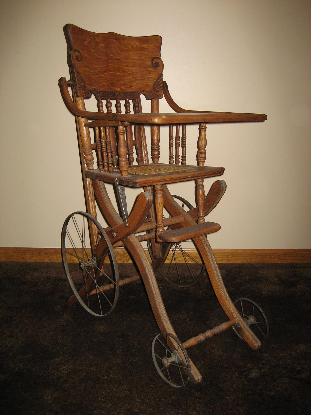 1890's OAK HIGHCHAIR/STROLLER - 1890's OAK HIGHCHAIR/STROLLER MikeHaganAntiqueAutoRadio.com